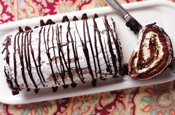 Chocolate praline meringue roulade