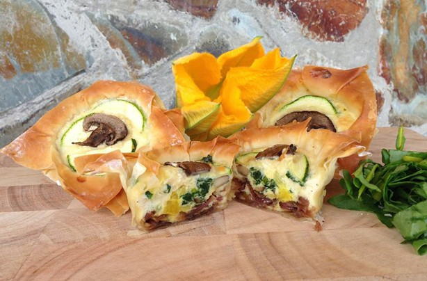 Lisa Williams cheese courgette and mushroom filo cups