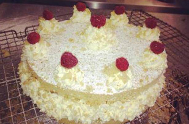 Sheila O'Connor Macrae lemon and raspberry gateau
