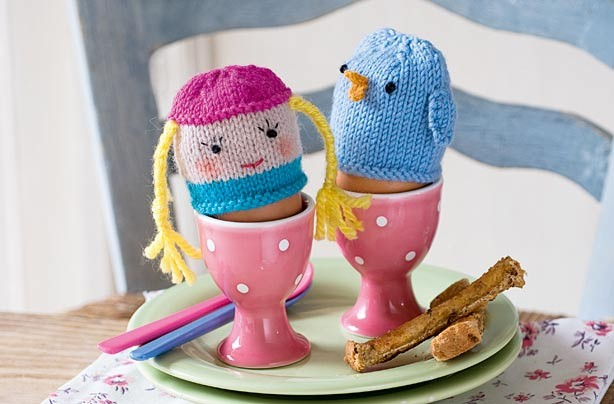 Blonde Girl and Bluebird knitted egg cosy