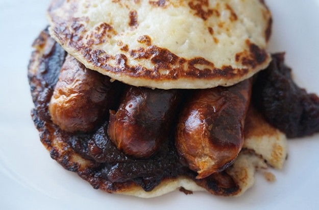 Sausage and mash pancakes