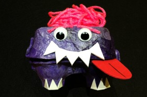 Egg-box puppet monster craft