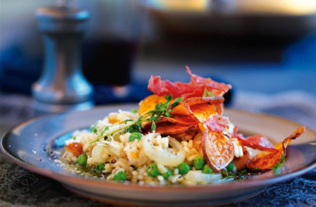 Sweet potato parma ham risotto
