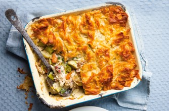 Leek and chicken filo pastry pie