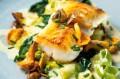 Roast cod with creamed leeks