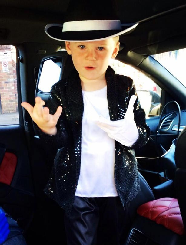 Kai Rooney dressed in Michael Jackson Thriller costume