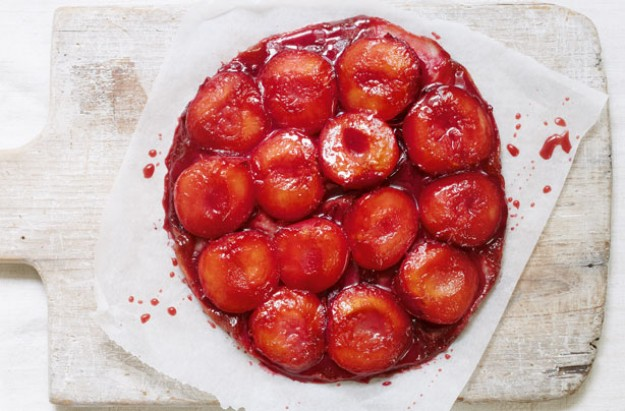 Mary Berry's plum and marzipan tarte tatin