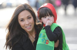 Myleene Klass with Hero in her World Book Day costume