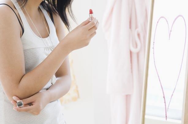 Lipstick heart on mirror
