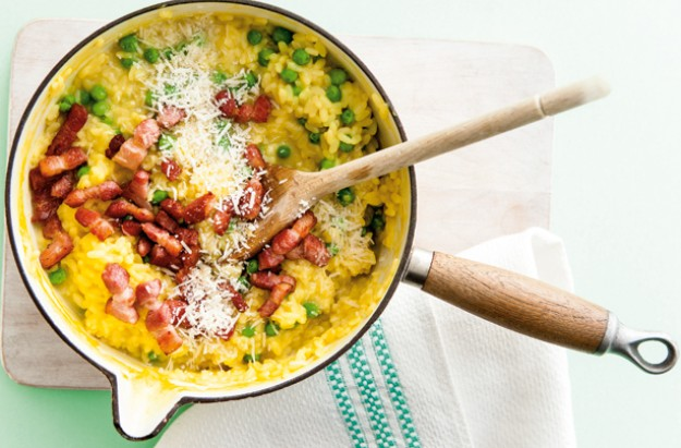 Bacon and -pea cheesy risotto