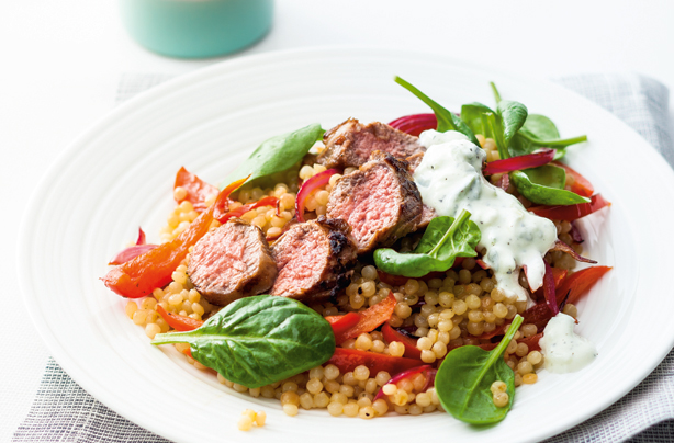 Pan-fried lamb with giant couscous salad recipe - goodtoknow