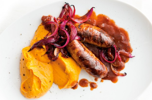 Sausages with sweet potato and squash mash