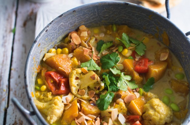 slow cooked squash and sweetcorn korma