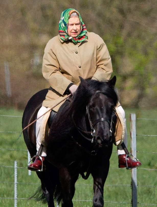 The Queen on horseback