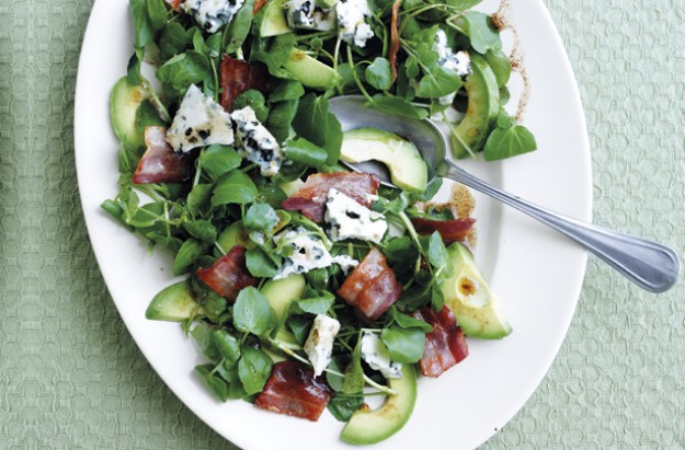 Watercress, avocado, bacon and blue cheese salad