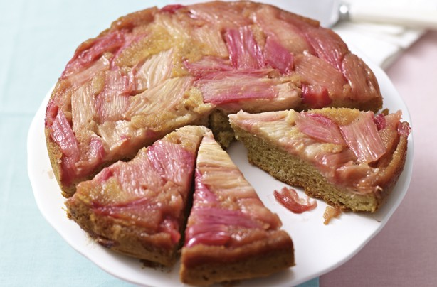 Rhubarb and pink peppercorn upside-down cake