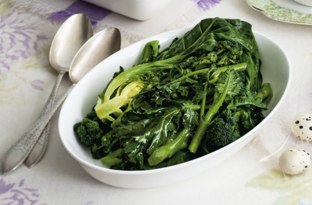 Spring greens and sprouting broccoli with bay dressing