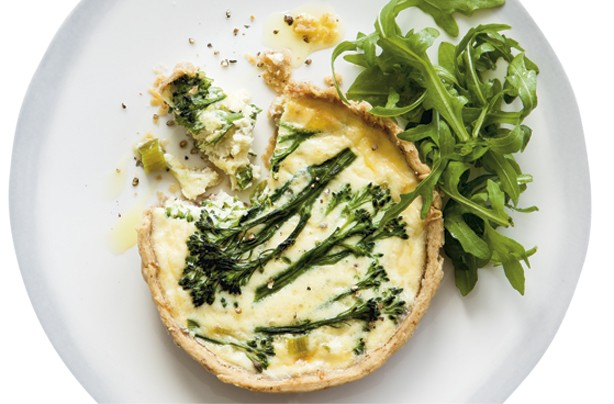 Walnut broccoli and gruyere tarts