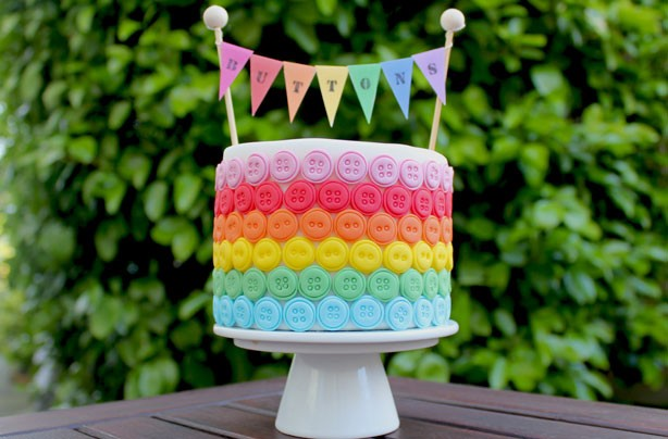 Rainbow button cake decorations