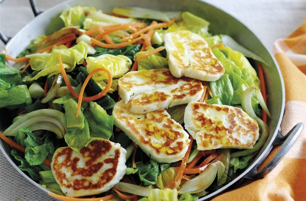 Spring vegetables and couscous with halloumi
