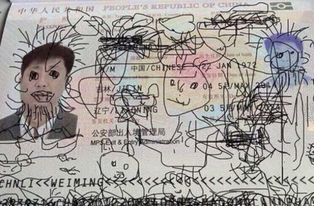 Dad's passport defaced by his 4-year-old son