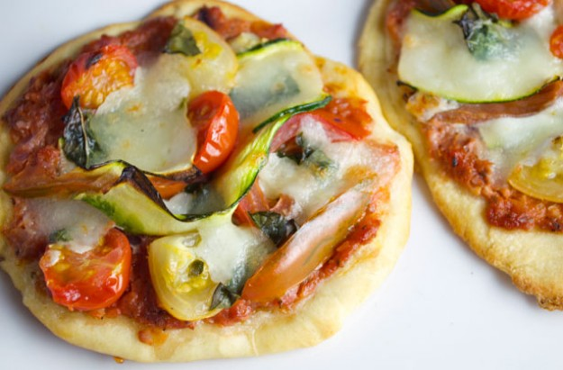 Tomato, basil and courgette ribbon mini pizzas