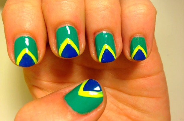 Brazil flag nails final step
