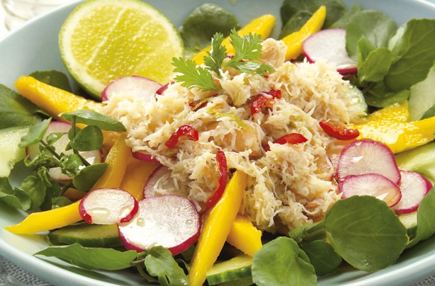 Crab mango and watercress salad