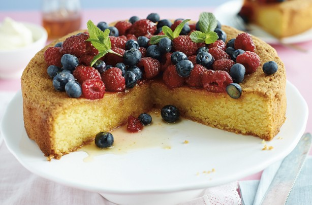 Lemon polenta cake with honey drizzle