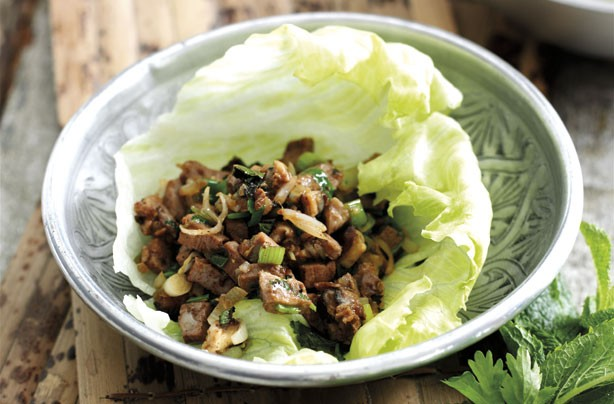 Malaysian duck in lettuce cups