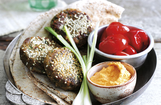 Falafel with Houmous and Grains Recipe