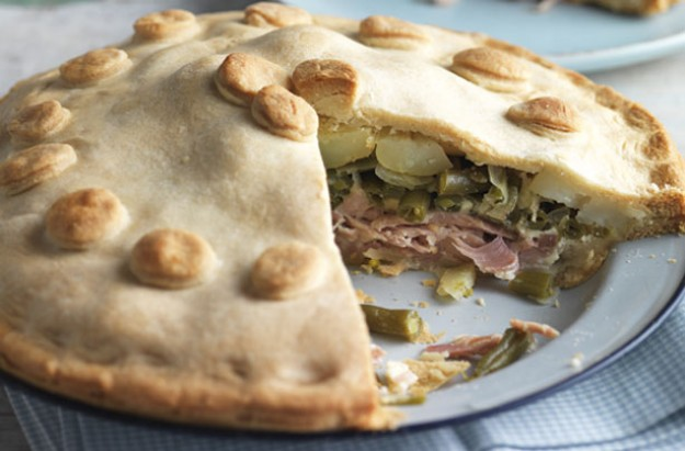 Ham bean and potato pie