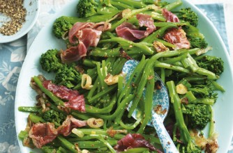 Runner bean and tenderstem broccoli salad