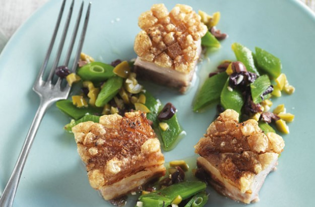 Belly pork with green bean tapenade
