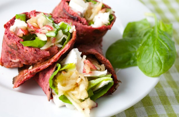 Beetroot and buckwheat wrap with goat's cheese and apple