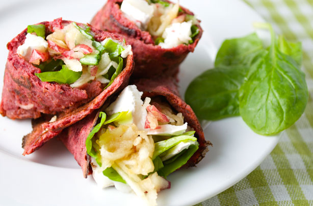 Beetroot and buckwheat wrap with goat's cheese and apple ...