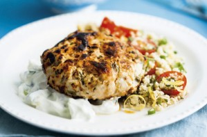 Turkey burgers with couscous and tzatziki