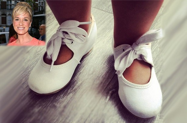 Tamzin Outhwaite's little girl Marnie Mae wearing tap shoes