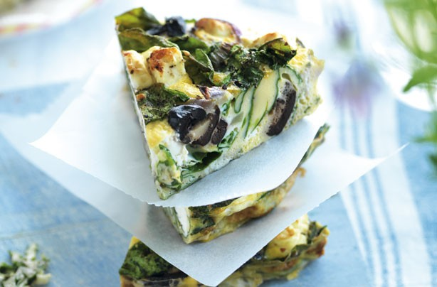 Spinach feta and olive frittata