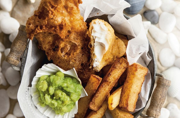 Beer-battered fish and double-cooked chips
