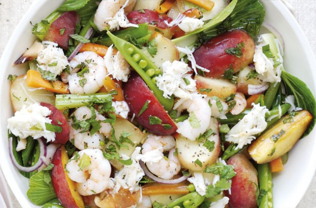 Seafood peach salad