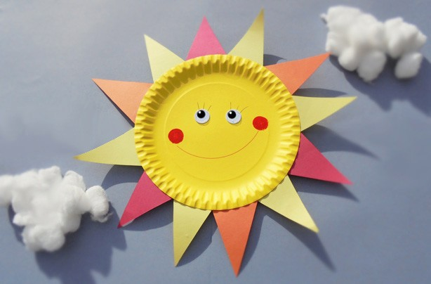 Paper plate crafts: how to make a sun