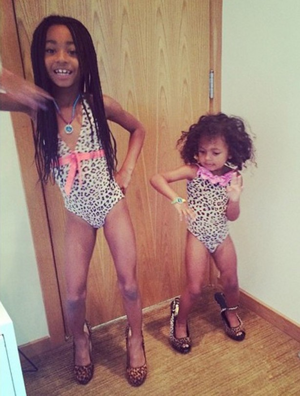 Mel B's kids Angel and Madison wearing her high heels
