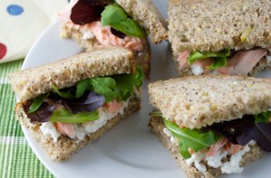 Salmon and cream cheese sandwich