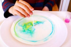 Colour changing milk experiment