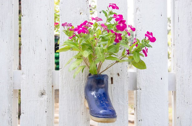 Wellies with flowers growing inside