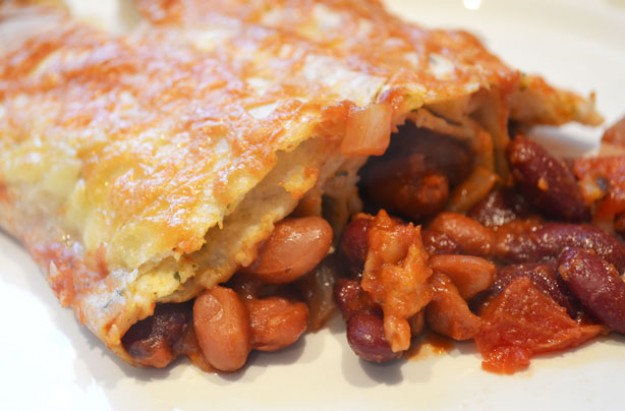 Spicy mixed bean tortillas