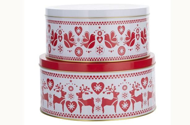 christmas cake tin size