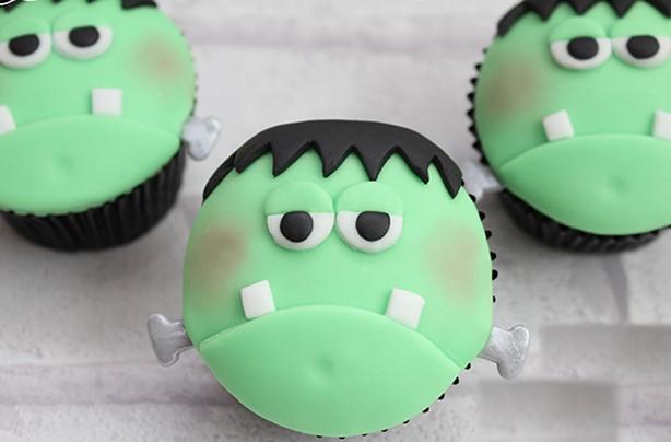 Easy Halloween cupcakes: Frankenstein cupcakes