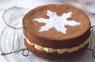 Chocolate cake with tiramisu cream